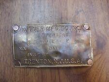 """Antique Brass Inspection Plate,2-5/8"""" X 4-13/16"""",Winner Mfg. Co. Trenton, N.J."""
