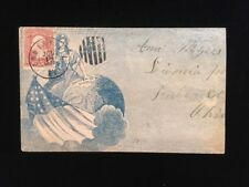 KY LOUISVILLE USED CIVIL WAR PATRIOTIC COVER #64b ALLOVER LADY LIBERTY W/GLOBE