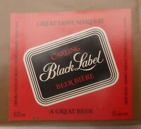 VINTAGE CANADIAN BEER LABEL - CARLING O'KEEFE BREWERY, BLACK LABEL LAGER 625ML