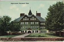 Antique POSTCARD c1912 High School MAYNARD, MA MASS.