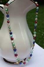 BR24 45 cm Süßwasser Perlen Schmuck Perlenkette Halskette Kette Collier bunt