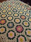 Vintage hand made Crochet GRANNY SQUARE Afghan Blanket Lap throw 52x41 ROSES