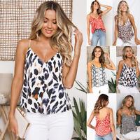 Women's Summer V-neck Vest Camisole Sleeveless Blouse Print Casual Tank Tops