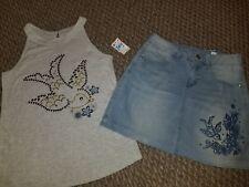 Girls Size 10 NEW w Tags JUSTICE bird Denim Skirt Matching Tank Top