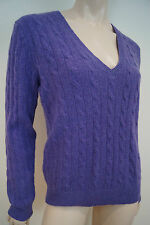 POLO RALPH LAUREN Purple Merino Wool & Cashmere Cable Knit Jumper Sweater Top L