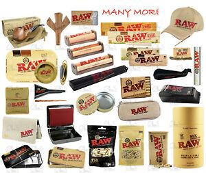 100% Genuine Raw King Size Slim Rolling Paper Organic Cone Tips Mat Tray Smoking