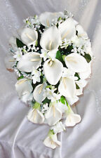 WHITE Cascade Bridal Bouquet ~ Calla Lilies Stephanotis Silk Wedding Flowers NEW