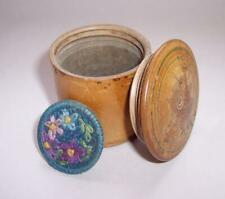 Vintage Antique WOODEN TRINKET Keepsake BOX Screw Top & EMBROIDERED BROOCH Pin