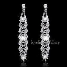 New Bride Wedding Silver Rhinestone Crystal Diamante Long Dangle Leaf Earrings