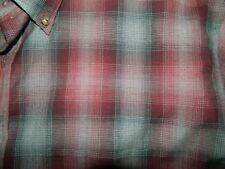 USA Mens Red Gray Shadow Plaid PENDLETON Mens 100% Wool Button Shirt XL LONG