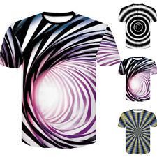 Hombre Mujer Camiseta de Verano 3D Hypnosis-Swirl Estampado Manga Corta Tops