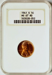 :1941-S 1C LINCOLN-CENT LOW-POP KEY-DATE NGC-MS-67 RD CHERRY-RED HIGHEST-GRADES