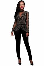 Abito lungo tuta aderente Strass Borchie Ballo Studded Mesh Jumpsuit Dress M
