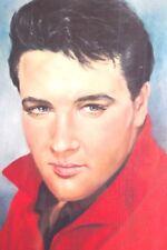 VINTAGE ORIGINAL PAINTING PRINT PORTRAIT OF ELVIS PRESLEY ON CANVAS 1970 SIGNED