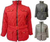 Womens Collar Size Padded Plus Jacket Coat Belted Winter Quilted Pockets UK 8-26