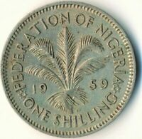 NIGERIA, 1 Shillings, 1959, VF / QUEEN ELIZABETH II.  #WT8537