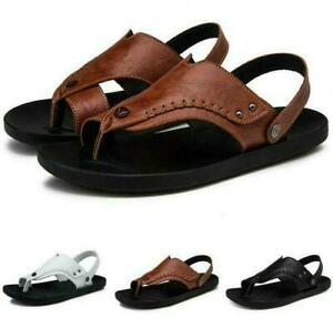 Mens Leisure Beach Sandals Casual Slingbacks Slip On Thong Leather Sandals Shoes