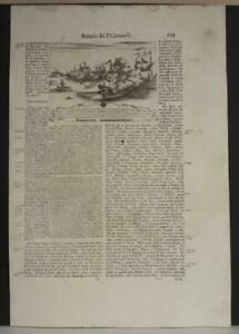 NAXOS GREECE 1690 CORONELLI UNUSUAL ANTIQUE COPPER ENGRAVED NAVAL BATTLE VIEW