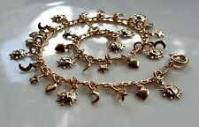 GENUINE 9ct Gold Charm Bracelet gf,Comes with 30 small charms { ch6 }