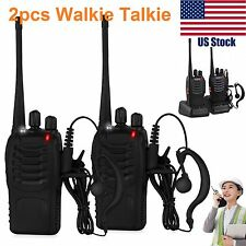 2x Walkie Talkie UHF 400-470MHZ 2 Way Radio 16CH 5W BF-888S Long Range Earphones