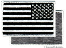 AMERICAN FLAG EMBROIDERED PATCH BLACK WHITE USA LEFT w/ VELCRO® Brand Fastener