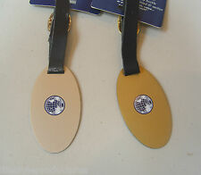 2 NEW FRANZUS TRAVEL SMART BRASS PEWTER & GOLD LUGGAGE TAGS ATTACHE BAG TAG
