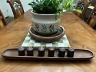 VINTAGE COUNTRY PRIMITIVE CANDLE HOLDER WOOD WOODEN TRENCH BOWL DECOR