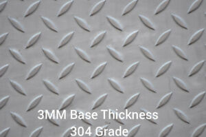 3mm thick Stainless steel tread plate/checker/Durbar. Laser cut. Square/plate