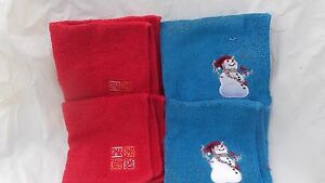 CHRISTMAS WASHCLOTHES SET OF FOUR 2 BLUE SNOWMAN--2 RED NOEL