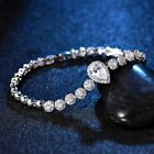 Women Engagement Silver White Rhinestone Crystal Earrings Pendant Necklace Chain