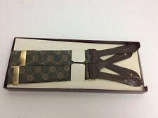 Riga Silk Button Suspenders Braces Brown Leather Brass Buckles England Vintage
