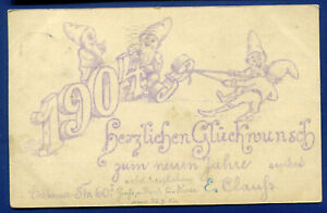 Germany 1904 New Years Greeting gnomes Greetings Postcard