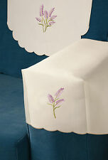 6 CHAIR ARM COVERS AND 5 CHAIR BACKS LAVENDER EMBROIDERY ON CREAM (59956/7)