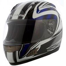 Duchinni D721 Blue White Full Face Motorcycle Crash Helmet 4 Star Sharp Rating