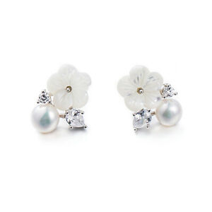 Sterling Silver Natural Pearl Mother of Pearl Flower CZ Leaf Earrings Boxed