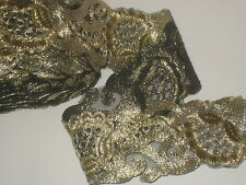 """3 yards in 2 1/4"""" width gold metallic applique chain style poly ,thread& organza"""