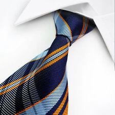 Classic Men's Tie Blue Orange Check Jacquard Woven Silk Necktie Men Accessories