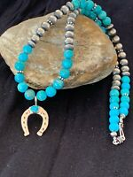 "Navajo Blue Turquoise Sterling Silver Necklace Pendant Set 21"" Gift Sale 4571"