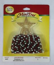 Westrim Beaded Mini Christmas Tree * Red Green Garland & Gold Star Topper #4405