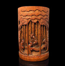 Old antique 1850-99 Chinese Bamboo Brush pot Bitong hand carved with old people