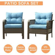 2 Pcs Patio Rattan Sofa Set Outdoor Wicker Garden Furniture Couch Chair Blue Us