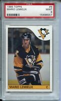 1985 Topps Hockey #9 Mario Lemieux Penguins Rookie Card RC Graded PSA MINT 9