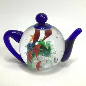 Dynasty Collection Paperweight Glass Teapot Fish Ocean Underwater Coral Sea life