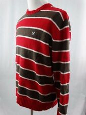 American Eagle Outfitters Crewneck SWEATER Red & Brown Stripe X-LARGE XL
