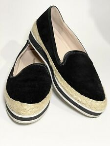 Mimco Black Suede Leather Flat Loafer Espadrilles Womens Shoes Sz 38