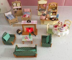 Sylvanian Families Kitchen Bedroom & Living Room Furniture Set Working Fire