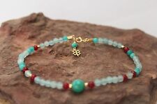 Handmade Gold plated Anklet Breclete Clove pendant natural colors Blue and Red