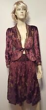 Persaman New York Crushed Velvet Skirt 2pc Outfit Sz M Plum Color Gold Sequin