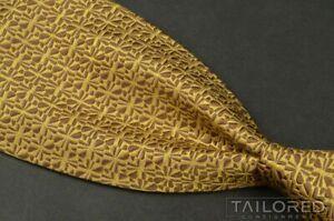 "CHARVET Gold Yellow Geometric 100% Silk Mens Luxury Tie - 3.50"""