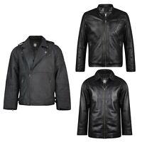 New Kam Men's Leather Jacket Heavy Duty Winter Coat King Plus Sizes Biker Style